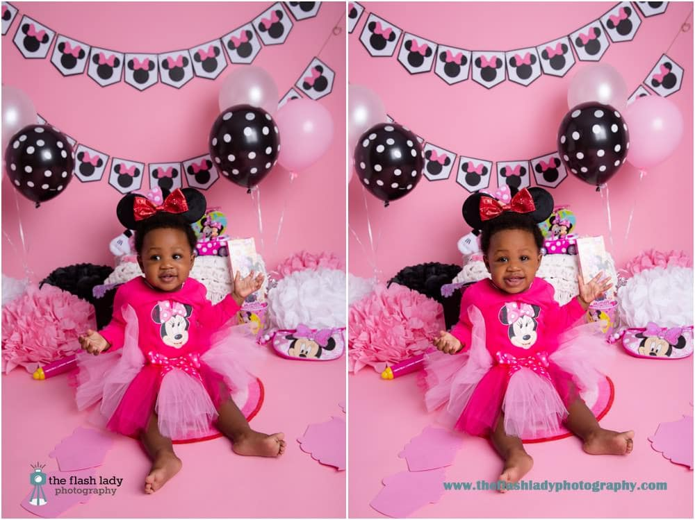 Lulu's Minnie Mouse cake smash at The Flash Lady Photography studio, Newington, CT