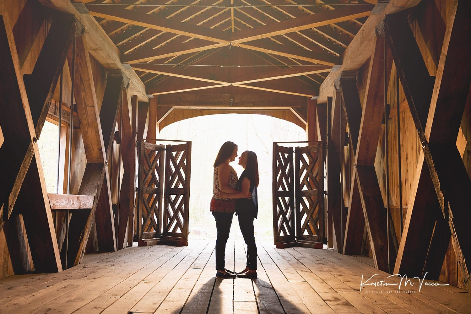 Comstock Bridge engagement session with Hope & Samantha in East Hampton, CT by wedding photographer The Flash Lady Photography