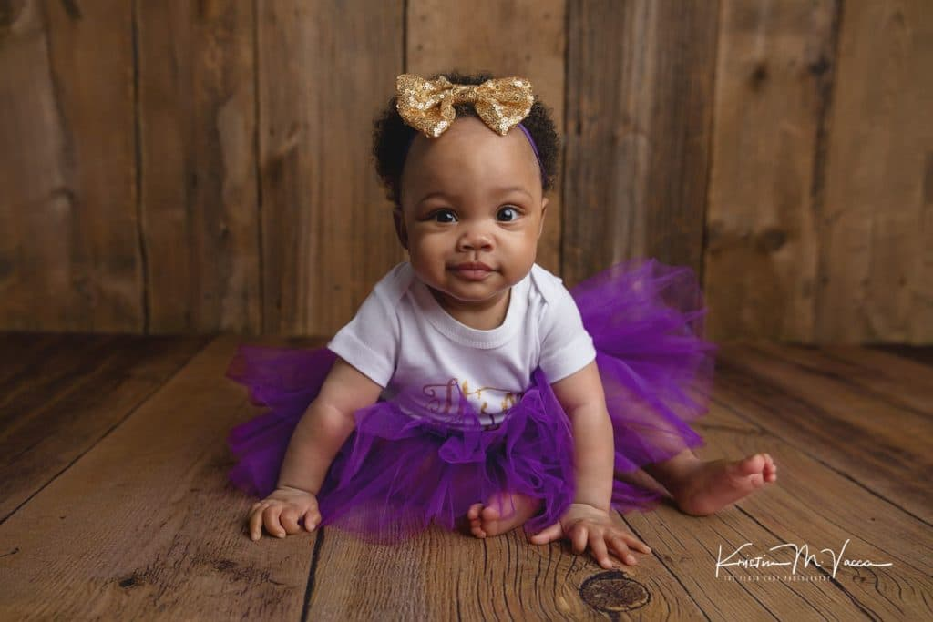 Baby Kamerynn's purple 6 month session by Wethersfield, CT photographer The Flash Lady Photography