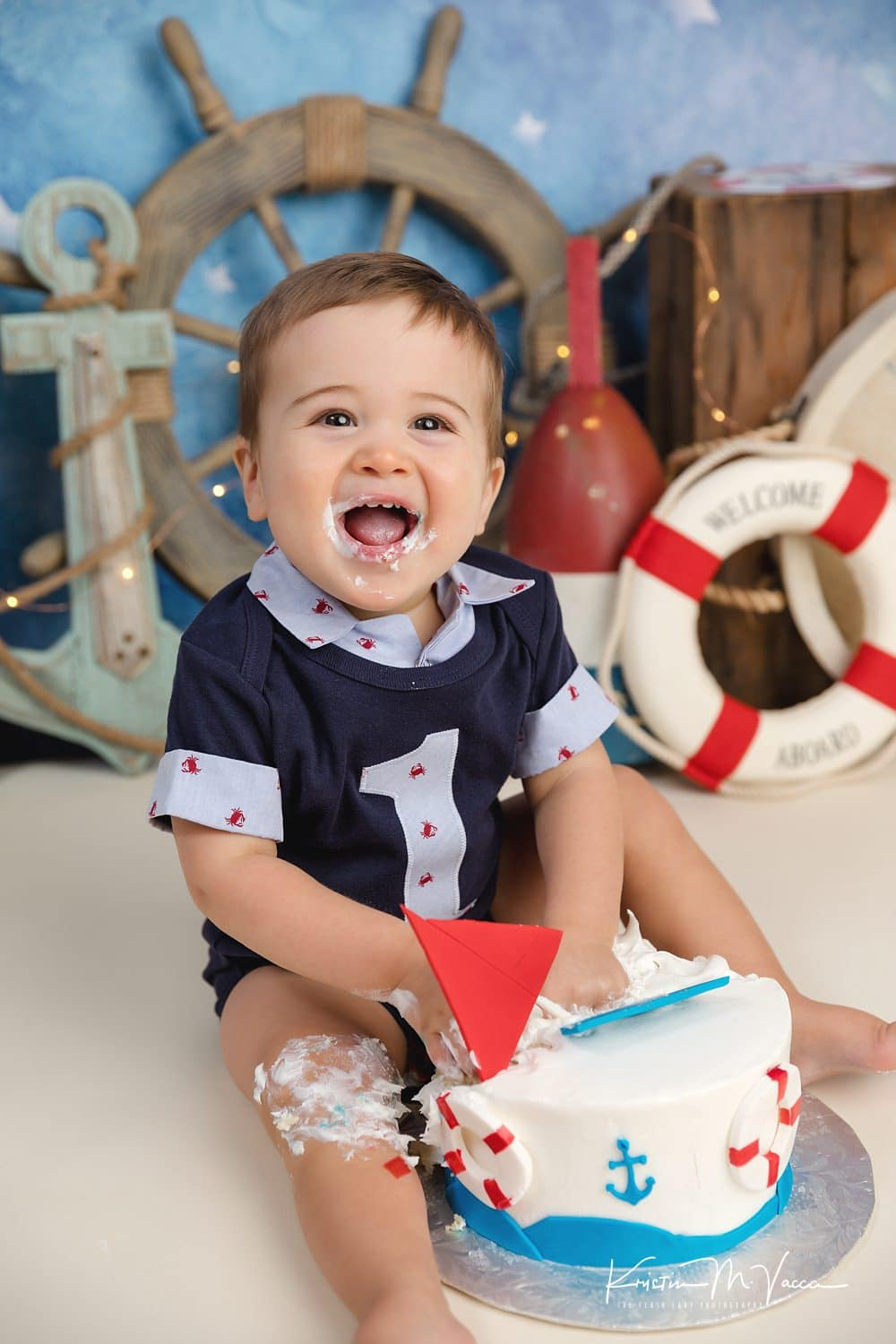 Photos from our nautical cake smash with Charlie by South Windsor, CT photographer The Flash Lady Photography