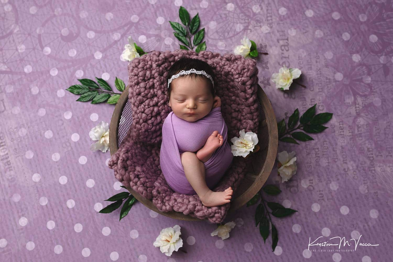 Emma's pretty purple newborn session photos by Newington, CT photographer The Flash Lady Photography
