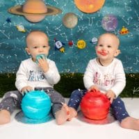 McCabe Twins | Space Cake Smash | Avon, CT Baby Photographer
