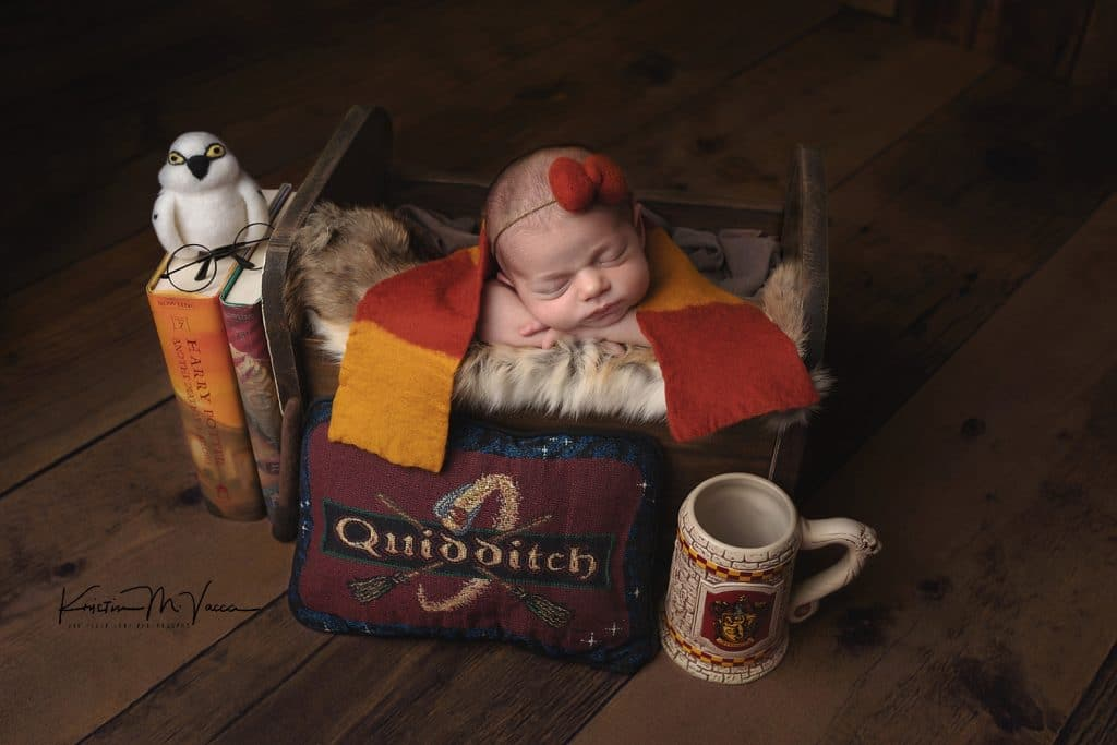 Ella's pink Harry Potter newborn photos by Newington, CT photographer The Flash Lady Photography