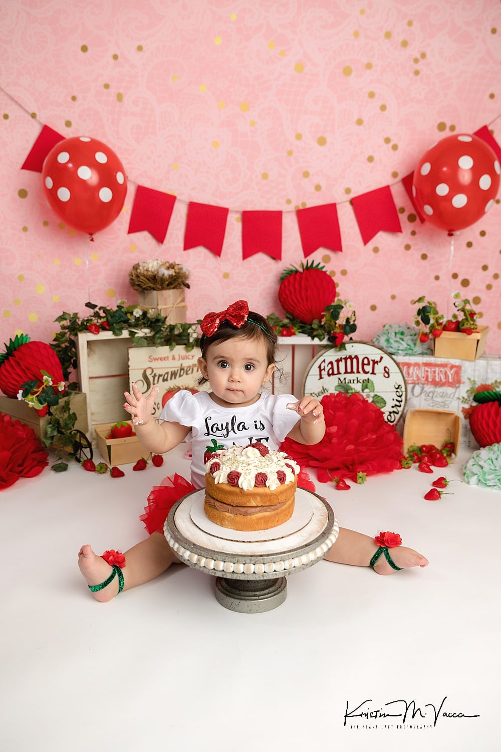 Super Layla Strawberry 1St Birthday Cake Smash Middletown Connecticut By Funny Birthday Cards Online Overcheapnameinfo