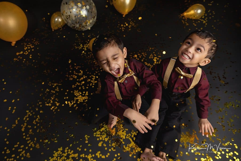 Photos from our twin gold confetti photoshoot by Rocky Hill, CT photographer The Flash Lady Photography