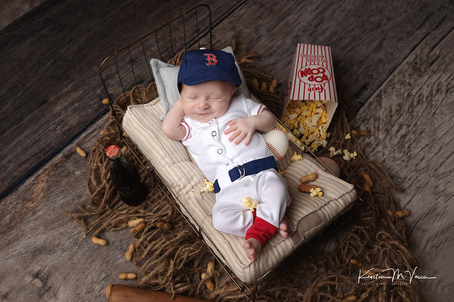 Sports themed newborn photos with baby Nathan by Pittsfield, MA & CT photographer The Flash Lady Photography