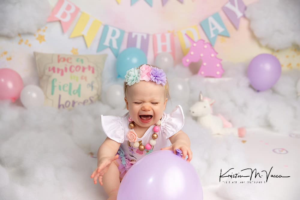 Photos from our unicorn cake smash by Plantsville, CT custom birthday photographer The Flash Lady Photography