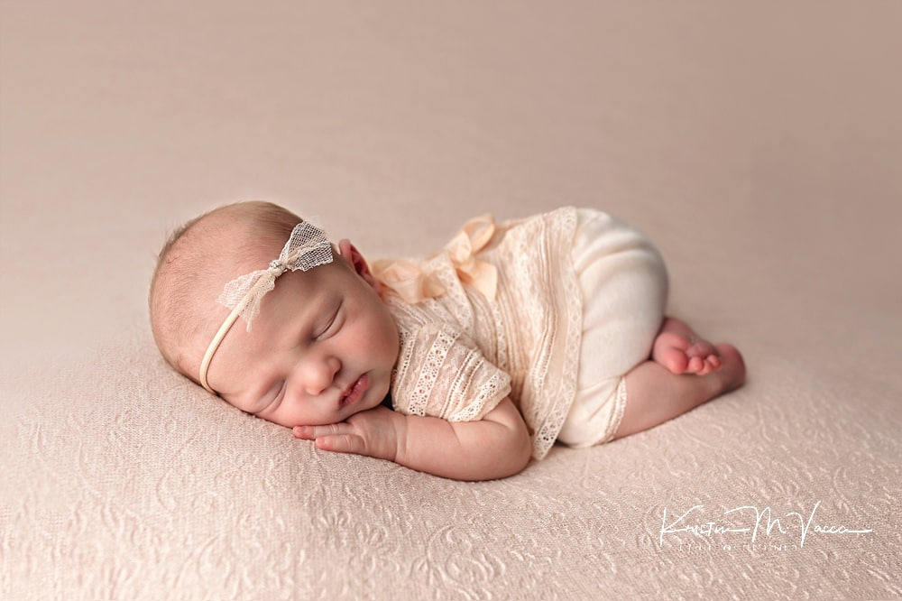 Posed studio newborn photography of baby Willow by Marlborough, CT photographer The Flash Lady Photography
