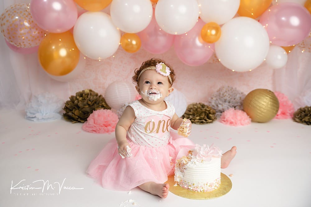 Celebrating first birthdays with a custom cake smash by The Flash Lady Photography