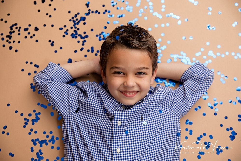 Confetti birthday photos of Sean by Southington, CT photographer The Flash Lady Photography