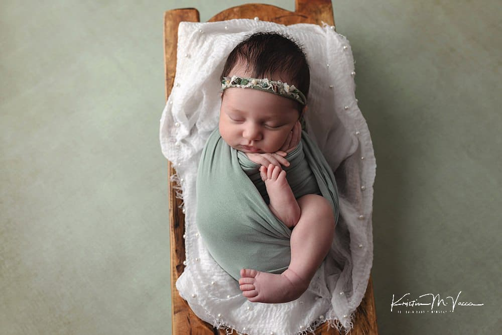 Sage Green Newborn Photos with baby Emerson by The Flash Lady Photography