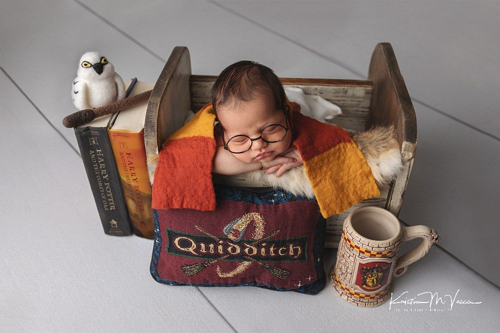 Jace's blue Harry Potter newborn photos by The Flash Lady Photography