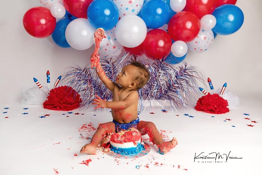 Emmett's little firecracker cake smash by The Flash Lady Photography