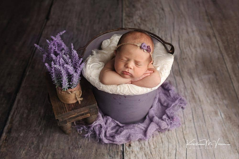Lavender & Cream newborn photos with baby Harper by The Flash Lady Photography