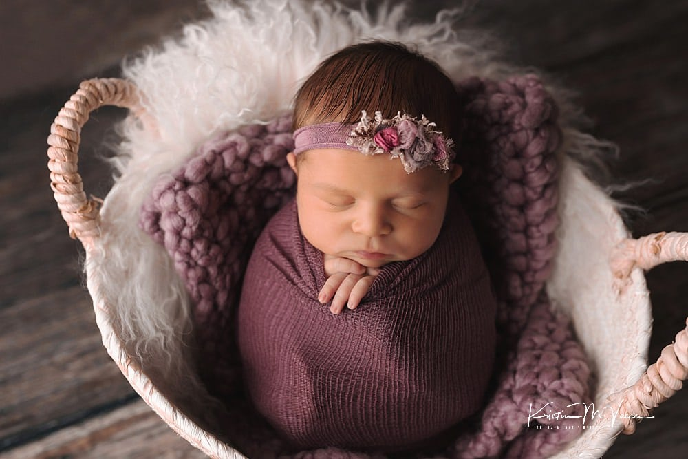 Purple & White newborn photos with baby Elise by The Flash Lady Photography