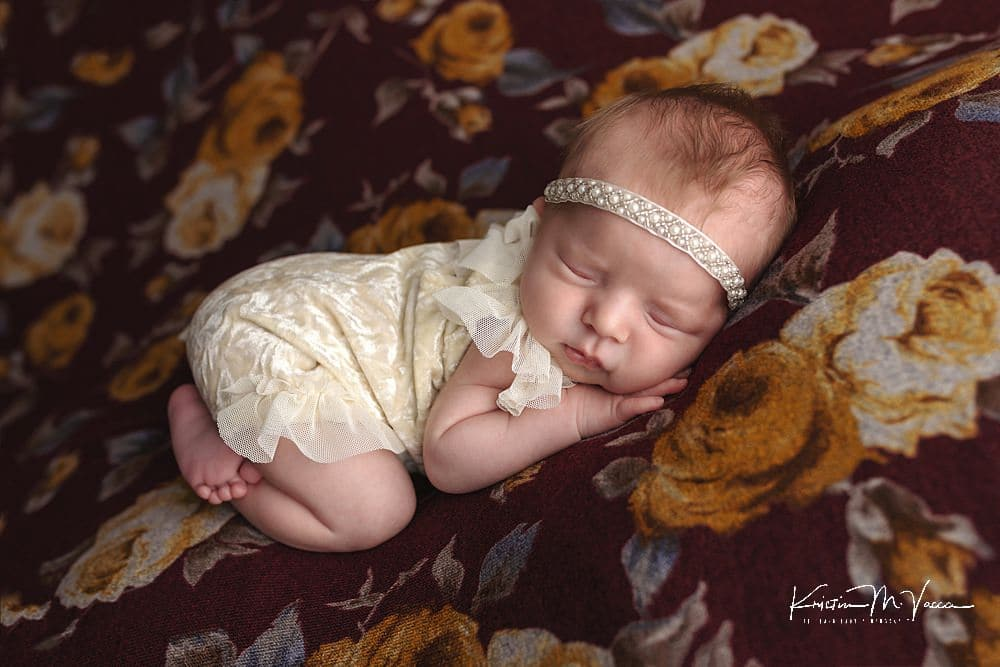 Burgundy newborn photos with baby Emerson by The Flash Lady Photography