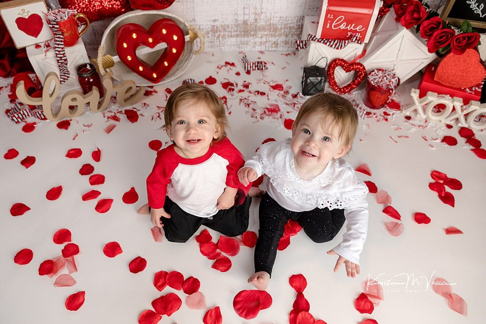 Photos from our twin valentine cake smash by The Flash Lady Photography