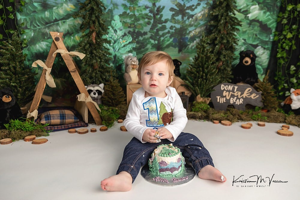 Bear cake smash by The Flash Lady Photography