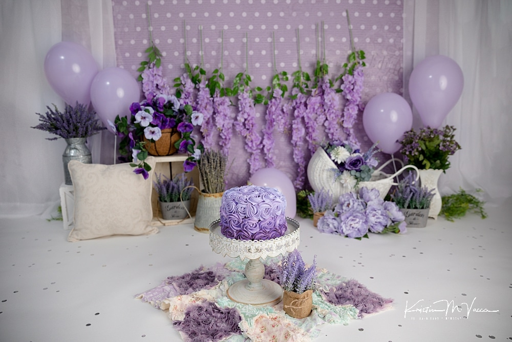 Lavender cake smash by The Flash Lady Photography