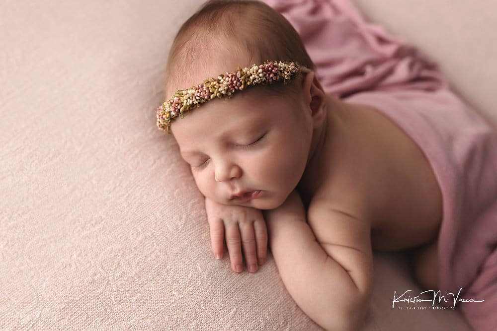 Beige & blush newborn photos by The Flash Lady Photography