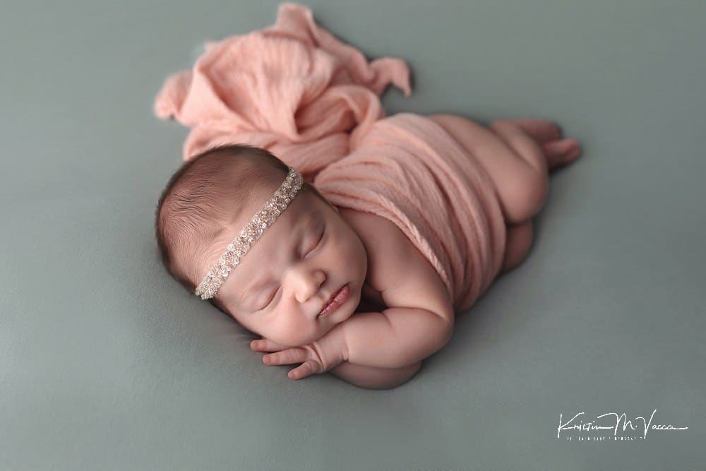 Pink & sage newborn photos by The Flash Lady Photography