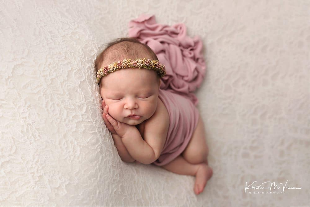 Pink & cream sibling newborn photos by The Flash Lady Photography