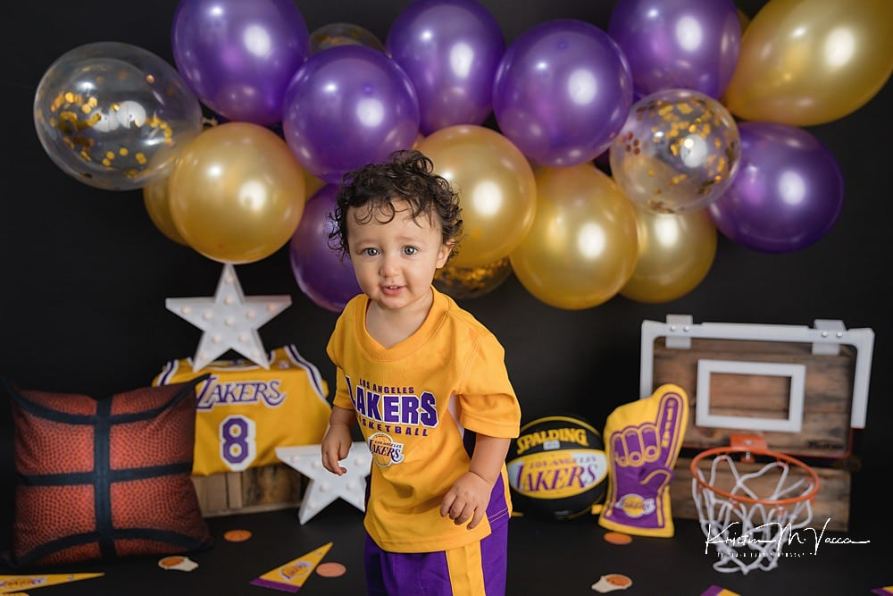 Lakers basketball cake smash with The Flash Lady Photography