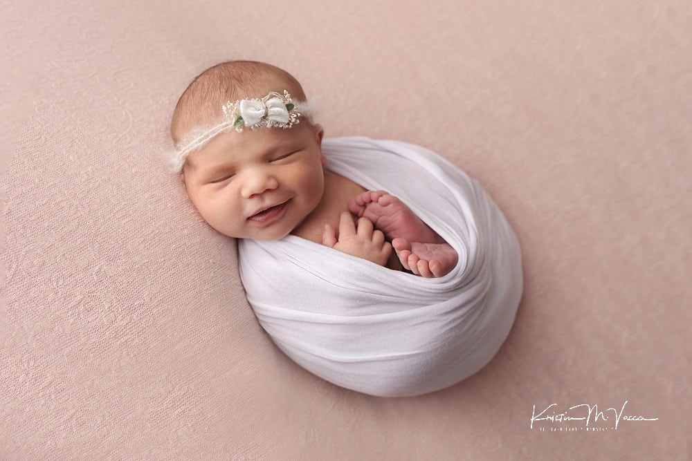 Pink & White newborn photos by The Flash Lady Photography