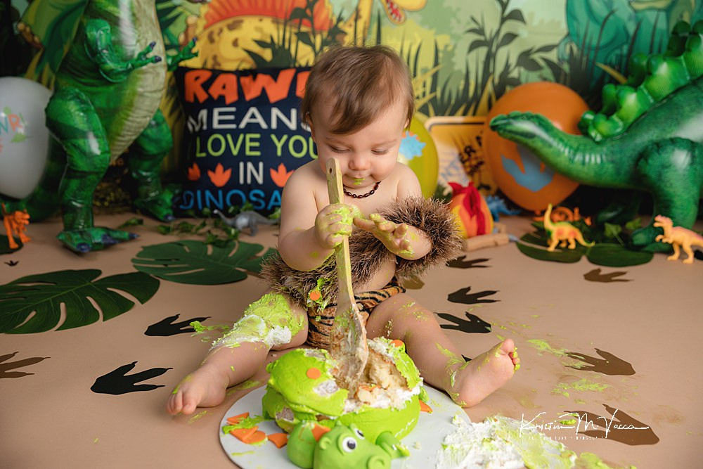 Dinosaur cake smash by The Flash Lady Photography