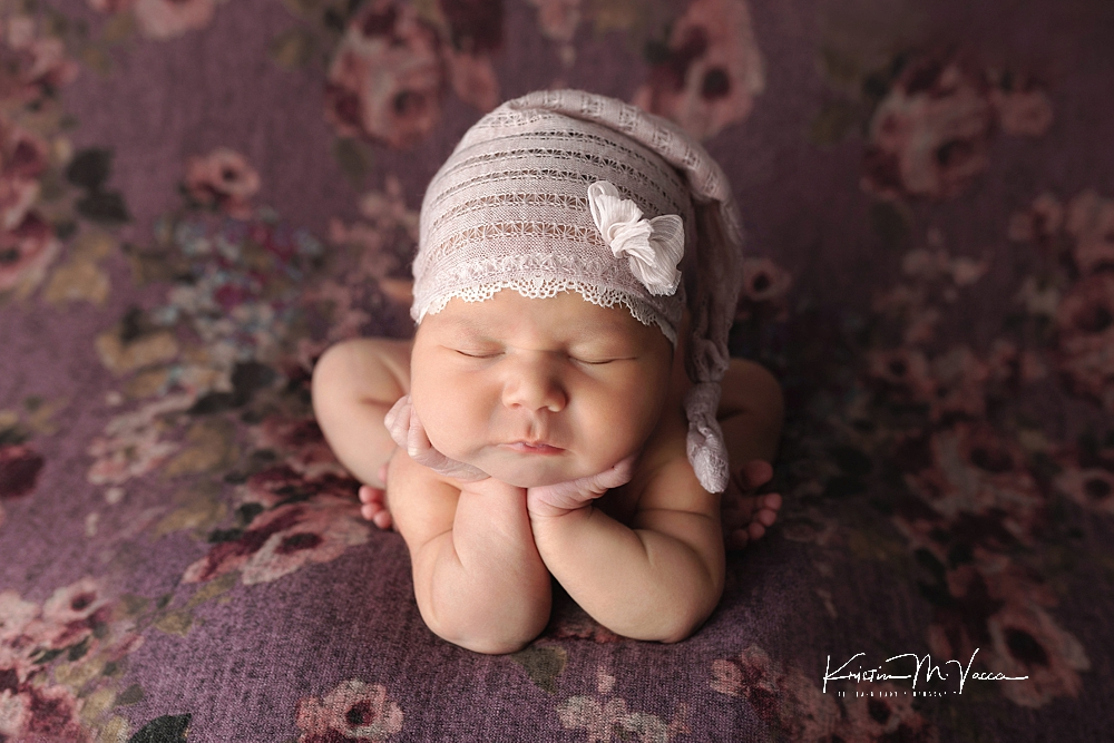Purple & White floral newborn photos by The Flash Lady Photography