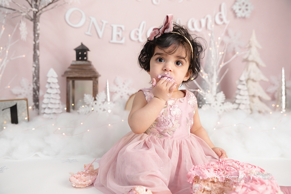 Pink winter cake smash by The Flash Lady Photography