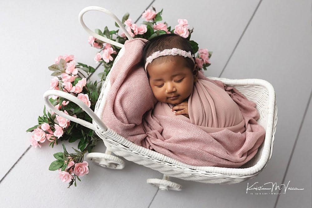 Mauve & maroon newborn photos by The Flash Lady Photography.