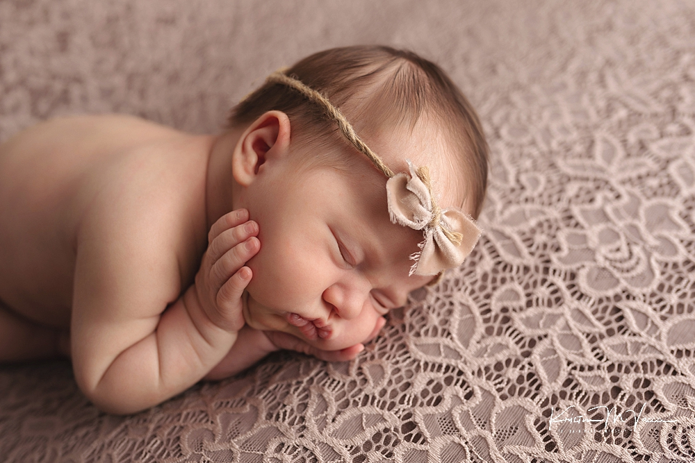 Neutral pink newborn photos by The Flash Lady Photography